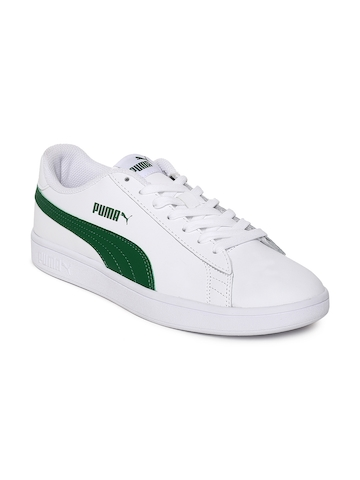 34ba7c9f2258e6 40% OFF on Puma Men White Smash v2 L Leather Sneakers on Myntra ...