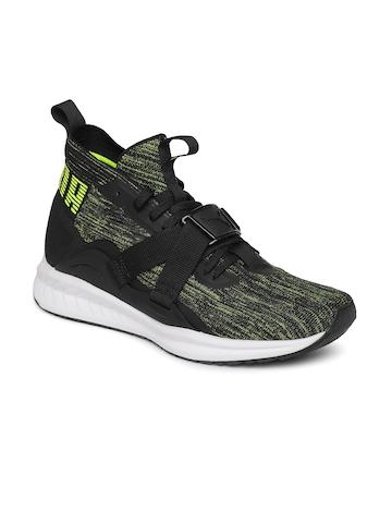 wholesale dealer 78ce7 79b43 Puma Unisex Black & Lime Green IGNITE evoKNIT 2 City Lgt FM Sneakers