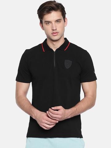 b021d95ee0f Buy Puma Men Black Solid Ferrari Polo T-shirt on Myntra