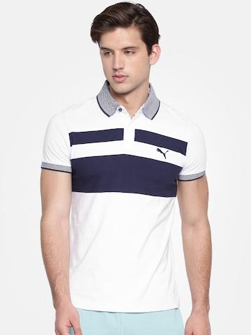 b4124709c3 40% OFF on Puma Men White & Navy Slim Fit India Chest Stripe Print Polo T- shirt on Myntra | PaisaWapas.com