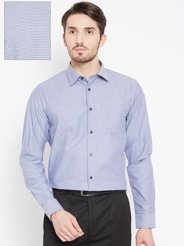 13d4e25858f 50% OFF on Arrow New York Men Blue Snug Fit Self-Design Formal Shirt ...