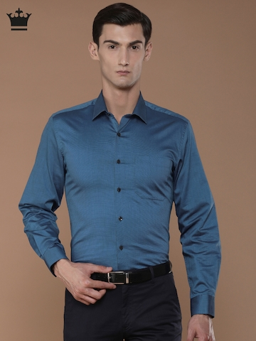 7b65492e549209 Buy Louis Philippe Men Blue Slim Fit Self Design Formal Shirt on Myntra |  PaisaWapas.com