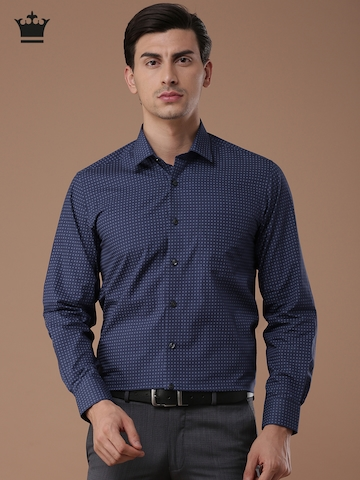 bc2e70918cd6d4 Buy Louis Philippe Men Blue Slim Fit Printed Formal Shirt on Myntra |  PaisaWapas.com