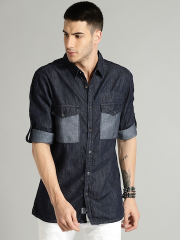a3ab1782a4e 30% OFF on Roadster Men Blue Faded Denim Shirt on Myntra ...