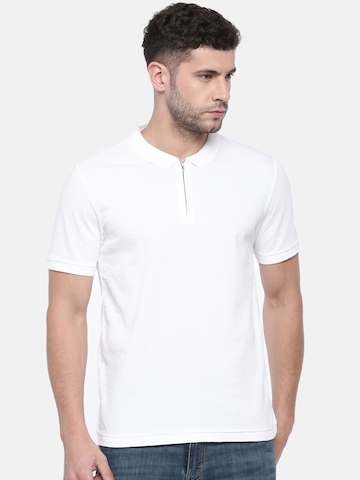 5b7c98f0e Buy Jack & Jones Men White Self Design Polo Collar T-shirt on Myntra |  PaisaWapas.com
