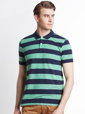 1cda4d9867 40% OFF on Spiritus by pantaloons Men Navy & Green Striped Polo Collar T- shirt on Myntra | PaisaWapas.com