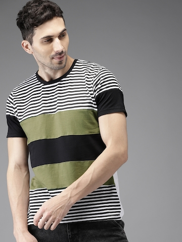 3286b02afb 40% OFF on HERE&NOW Men Olive Green & Black Striped Round Neck T-shirt on  Myntra | PaisaWapas.com