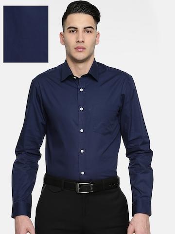 8b7c102ed77 Buy Arrow Men Navy Blue Snug Slim Fit Solid Formal Shirt on Myntra ...