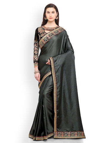 63cae716137 40% OFF on RIYA Charcoal   Gold-Toned Poly Silk Embroidered Saree on Myntra