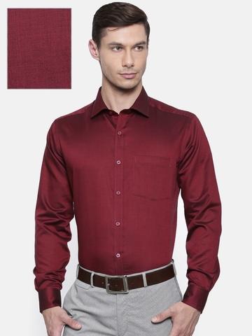 fcf3521fdde 30% OFF on Park Avenue Men Maroon Regular Fit Self Design Formal Shirt on  Myntra