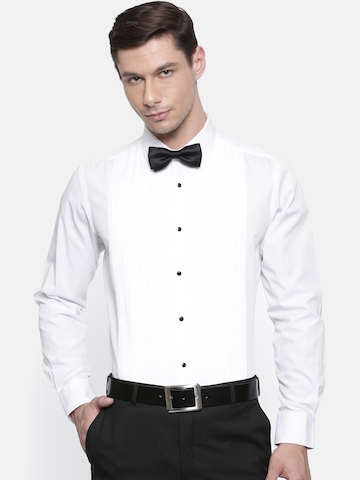 71d7b0e1bbb 60% OFF on Raymond Men White Contemporary Fit Striped Partywear Shirt on  Myntra