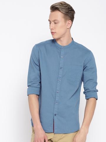 official shop newest selection big selection of 2019 HIGHLANDER Men Blue Slim Fit Solid Casual Shirt