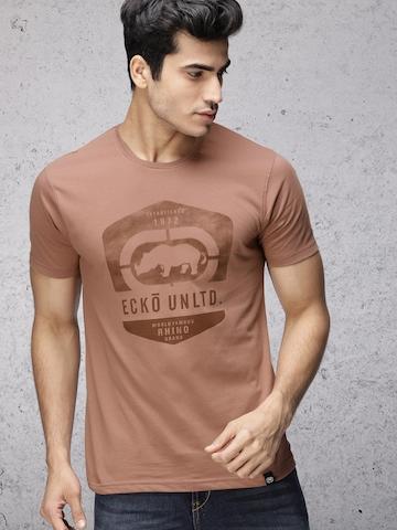 b55732ed130d Buy Ecko Unltd Men Rust Brown Printed Slim Fit T-shirt on Myntra |  PaisaWapas.com