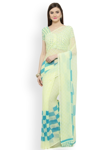 e32a6c4a627 64% OFF on Shaily Yellow   Blue Pure Georgette Printed Saree on Myntra