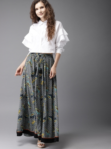 a0e93f2c6 50% OFF on Moda Rapido Charcoal Grey & White Printed Maxi Flared Skirt on  Myntra | PaisaWapas.com