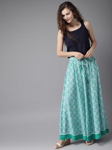 2563d1f3f 40% OFF on Moda Rapido Turquoise Blue & Off-White Printed Maxi Flared Skirt  on Myntra | PaisaWapas.com