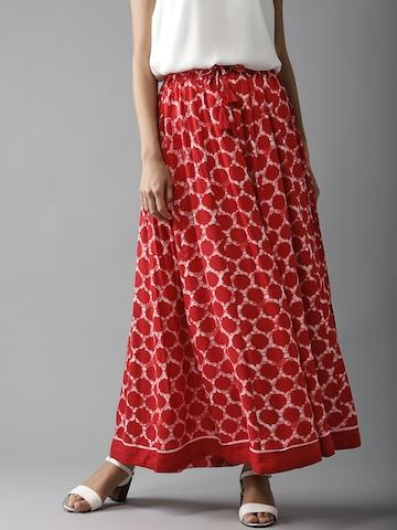 cc65dccda 50% OFF on Moda Rapido Red Printed Maxi Flared Skirt on Myntra |  PaisaWapas.com