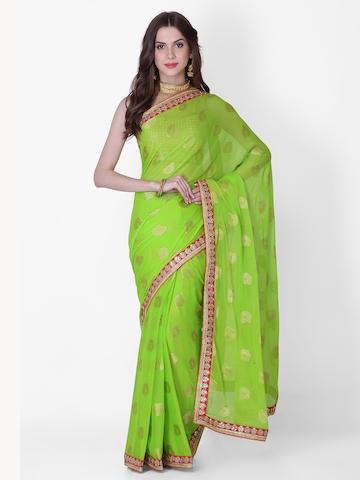 aa1f50f69c 20% OFF on Geroo Jaipur Green & Gold-Toned Poly Georgette Printed Banarasi Saree  on Myntra   PaisaWapas.com
