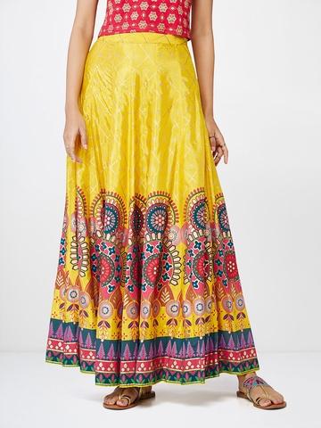 cf985cc8d4 Buy Global Desi Women Mustard Yellow & Pink Printed Maxi Skirt on Myntra    PaisaWapas.com