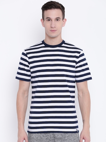 4fead12b Buy Jockey Men Navy Blue & White Striped Round Neck T-shirt on Myntra |  PaisaWapas.com