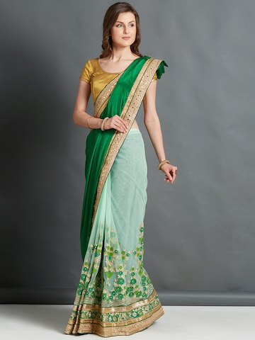 615bbf2871ed68 60% OFF on Mitera Green & Lime Green Embroidered Saree on Myntra    PaisaWapas.com