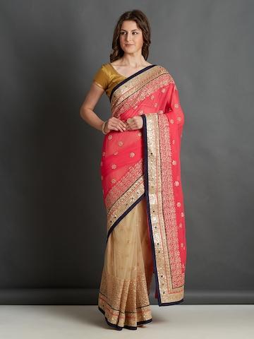 d68020ff342df1 50% OFF on Mitera Pink & Beige Embroidered Saree on Myntra   PaisaWapas.com