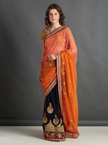 e25472750dcfbb 50% OFF on Mitera Orange & Navy Blue Silk Blend Embroidered Saree on Myntra    PaisaWapas.com