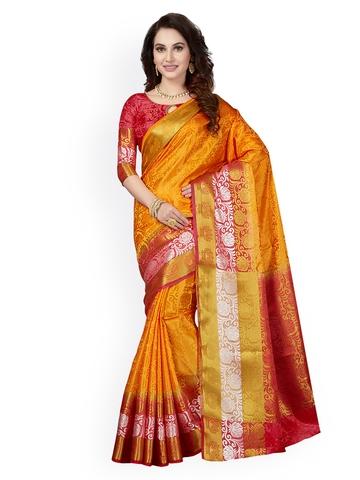 697080663 60% OFF on Ishin Yellow   Red Art Silk Woven Design Mysore Silk Saree on  Myntra