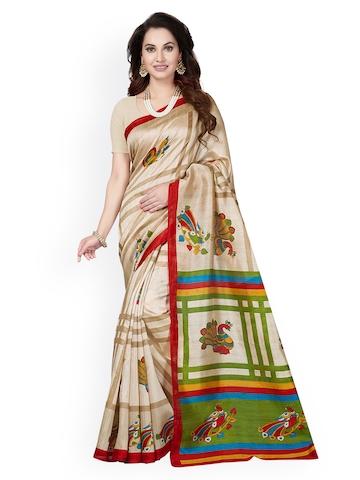 6621a6b51 50% OFF on Ishin Beige   Red Art Silk Printed Mysore Silk Saree on Myntra
