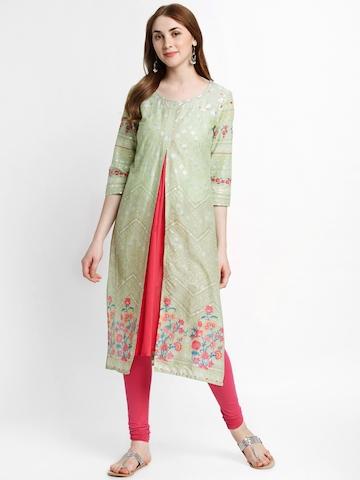 32e5a55313e Buy RANGMANCH BY PANTALOONS Women Green Printed A-Line Kurta on Myntra