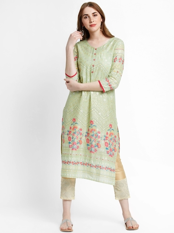 a941ffc6b90 30% OFF on RANGMANCH BY PANTALOONS Women Green Printed Straight Kurta on  Myntra