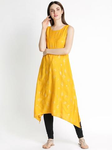 7c8e52c1c9b 30% OFF on RANGMANCH BY PANTALOONS Women Yellow Printed A-Line Kurta on  Myntra