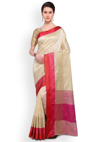 083b7dc86d 20% OFF on Varkala Silk Sarees Cream-Coloured Art Silk Woven Design Banarasi  Saree on Myntra | PaisaWapas.com