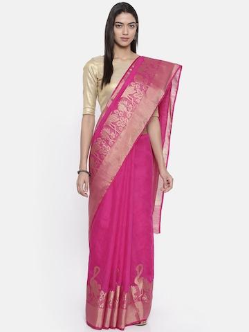 fbefb368e24 57% OFF on KUPINDA Pink Art Silk Solid Kanjeevaram Saree on Myntra ...