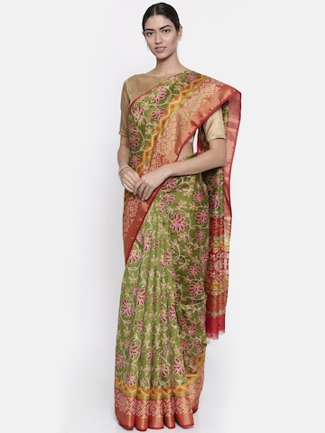 e97bfc1a3e8 65% OFF on KUPINDA Olive Green Printed Art Silk Saree on Myntra ...
