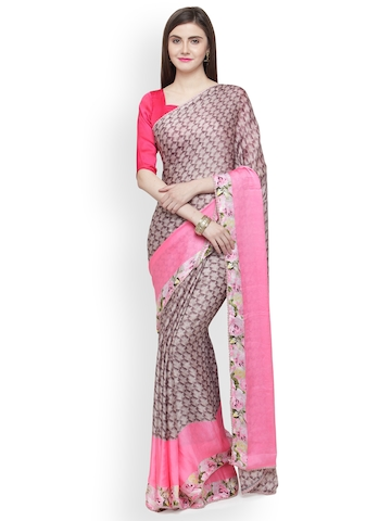 8b7983772 60% OFF on Shaily Brown   Pink Printed Satin Saree on Myntra ...