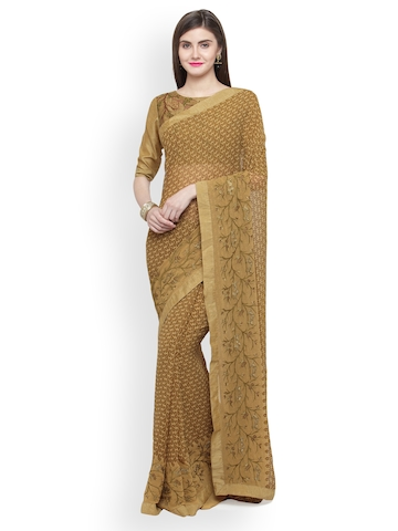 5527f6f549 70% OFF on Shaily Brown Embroidered Pure Georgette Saree on Myntra |  PaisaWapas.com