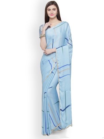 a563c96d1 60% OFF on Shaily Blue Printed Satin Saree on Myntra