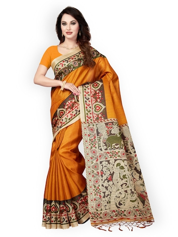 dd0b061b495 58% OFF on Ishin Mustard Art Silk Printed Mysore Silk Saree on Myntra