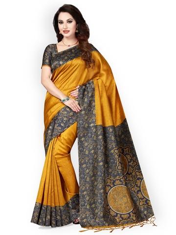 d456a0521 55% OFF on Ishin Mustard Art Silk Printed Mysore Silk Saree on Myntra