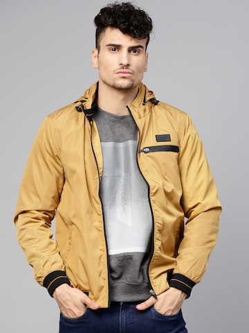 1197a75aa HRX by Hrithik Roshan Men Mustard Yellow Solid Hooded Bomber Jacket