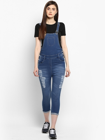 33929a32f44 60% OFF on StyleStone Women s Distressed Stretchable Slim Fit Denim Capri  Style Dungarees on Myntra