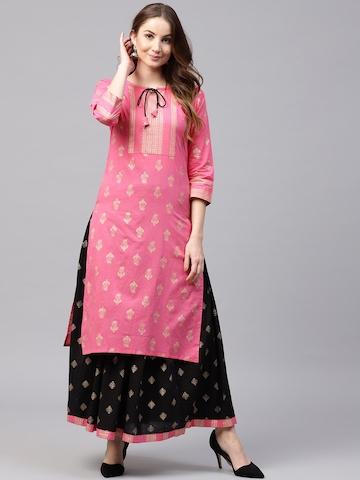 d6d57ddd009 30% OFF on Nayo Women Pink   Black Printed Kurta with Skirt on Myntra