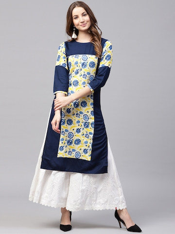 f7496fe46 50% OFF on Nayo Women Navy Blue   Yellow Printed Straight Kurta on Myntra