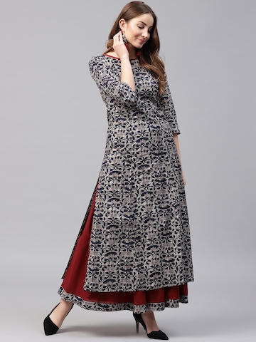 589256069 65% OFF on Nayo Women Navy Blue   Maroon Printed Kurta with Skirt on Myntra