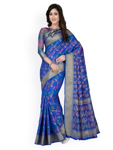 887408b9ae 40% OFF on Saree Swarg Blue Silk Blend Woven Design Banarasi Saree on  Myntra | PaisaWapas.com