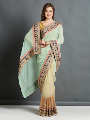 0b33dc8176c9d5 55% OFF on Mitera Women Turquoise Blue & Beige Pure Georgette Embroidered  Saree on Myntra   PaisaWapas.com
