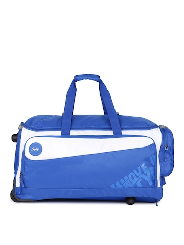 Buy Skybags Unisex Blue   White MERLIN DFT 68 Medium Duffel Trolley Bag on  Myntra  a1f39b6617e08