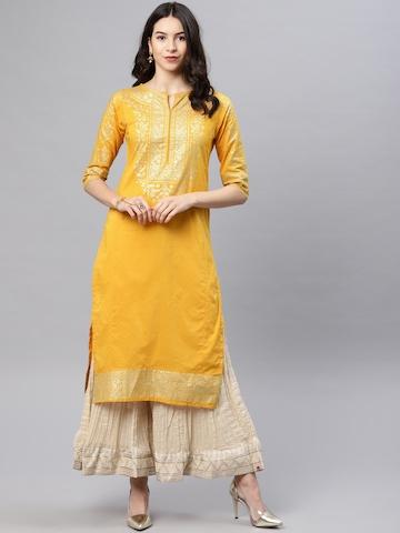 1b0c5412a52 45% OFF on Vishudh Women Mustard   Gold-Toned Solid Straight Kurta on  Myntra