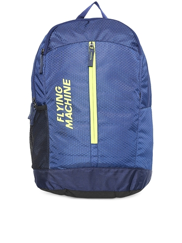 81330fa2d17 Flying Machine Unisex Navy Honeycomb Textured Laptop Backpack